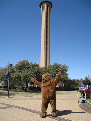 Braniff Memorial Tower with their Groundhog Mascot at University of Dallas